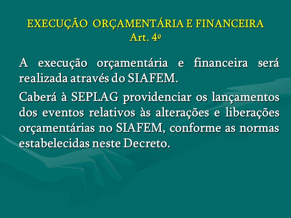 EXECUÇÃO ORÇAMENTÁRIA E FINANCEIRA Art. 4º