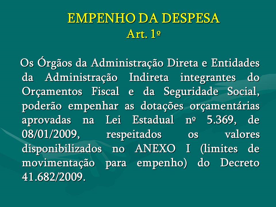 EMPENHO DA DESPESA Art. 1º