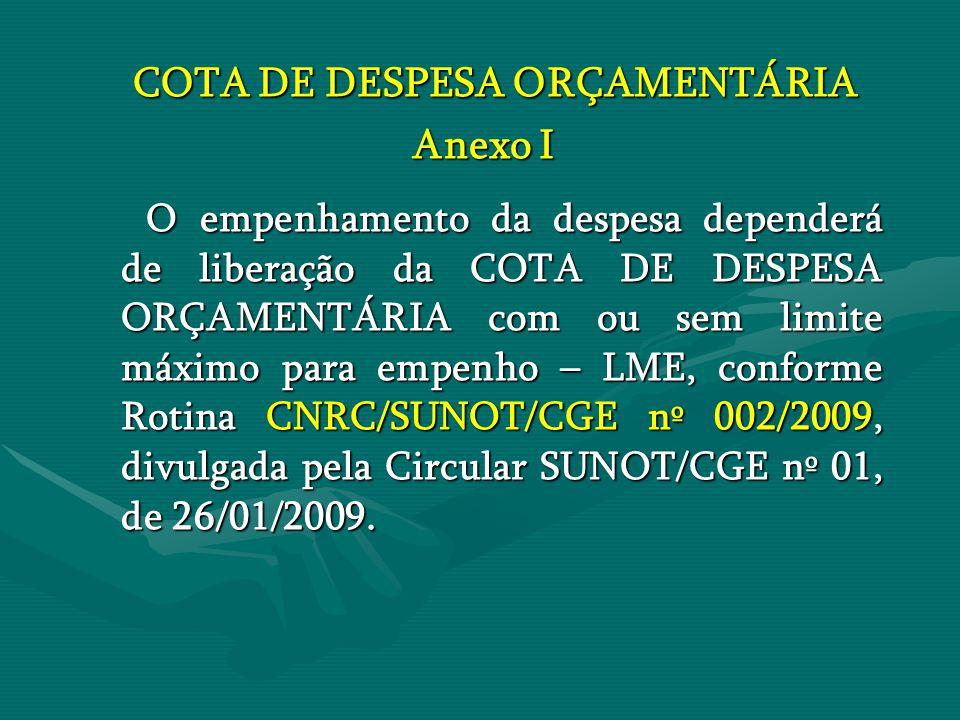 COTA DE DESPESA ORÇAMENTÁRIA