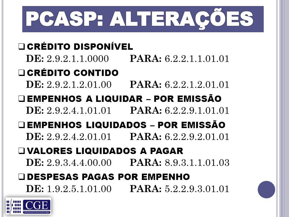 PCASP: ALTERAÇÕES DE: 2.9.2.1.1.0000 PARA: 6.2.2.1.1.01.01