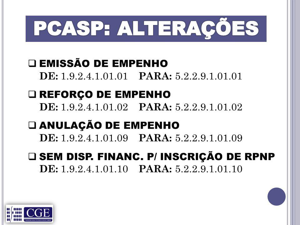 PCASP: ALTERAÇÕES EMISSÃO DE EMPENHO