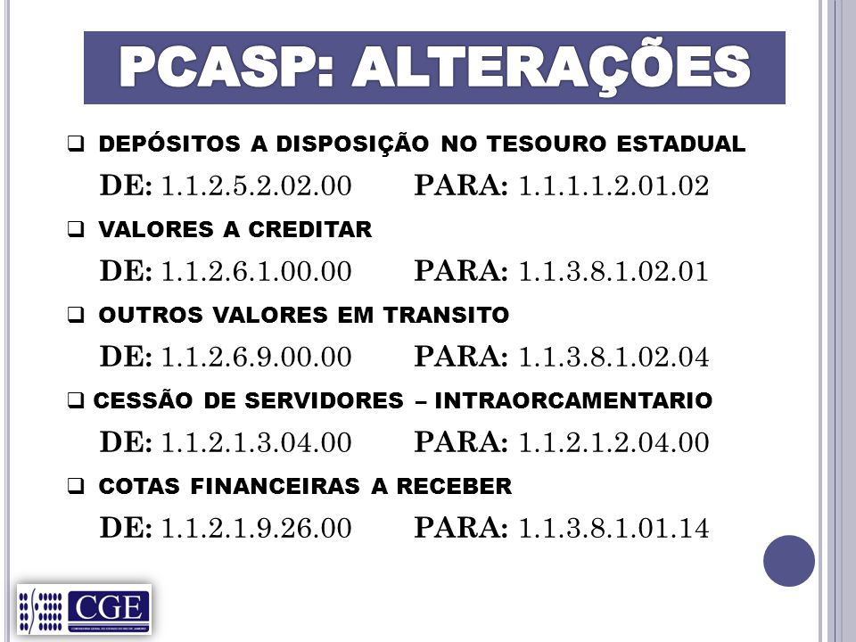 PCASP: ALTERAÇÕES DE: 1.1.2.5.2.02.00 PARA: 1.1.1.1.2.01.02
