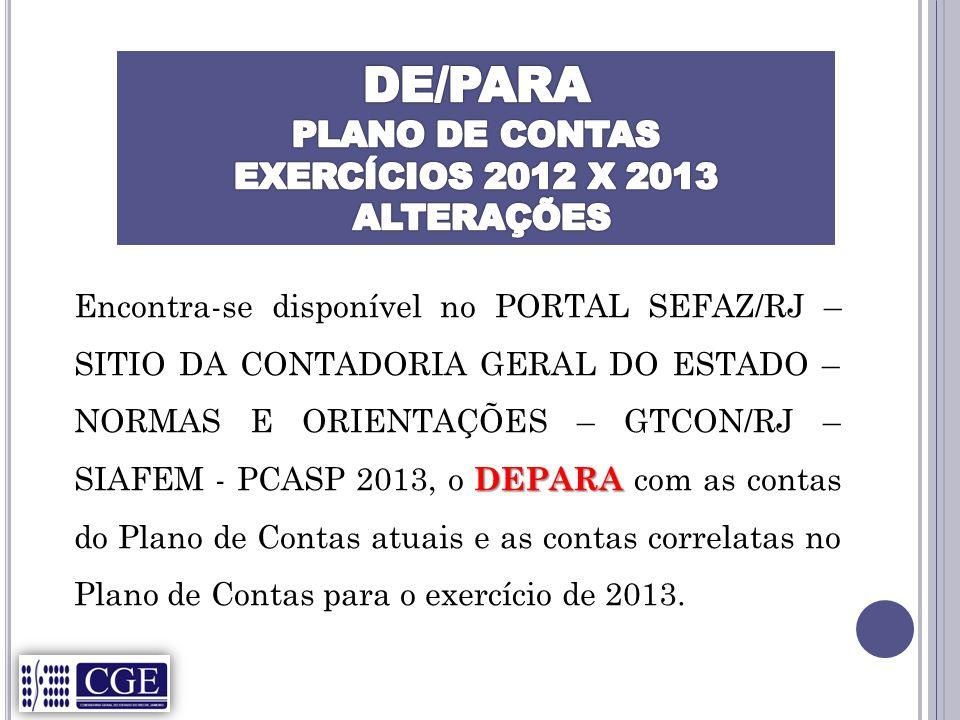 DE/PARA PLANO DE CONTAS EXERCÍCIOS 2012 X 2013 ALTERAÇÕES