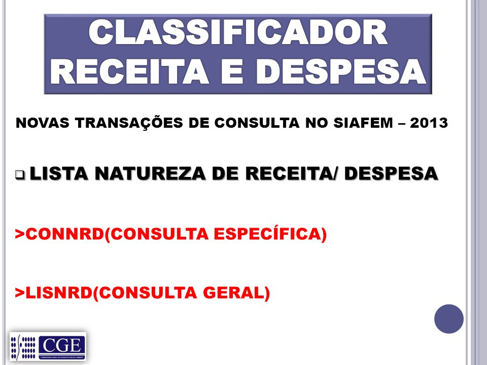 CLASSIFICADOR RECEITA E DESPESA