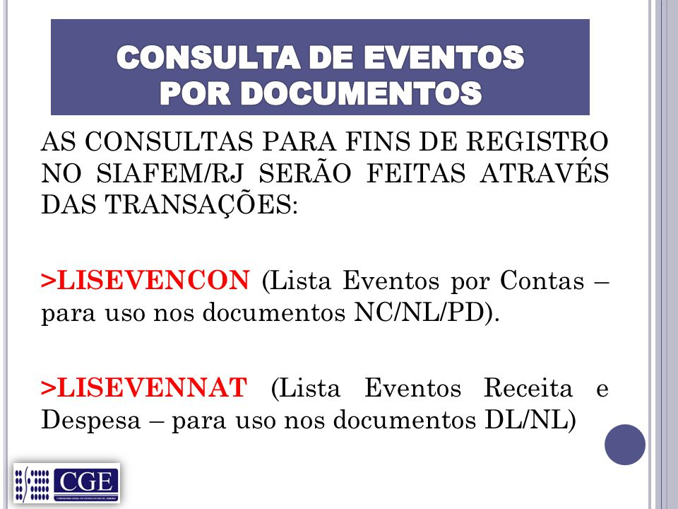 CONSULTA DE EVENTOS POR DOCUMENTOS