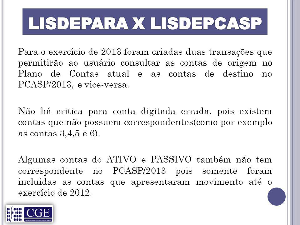 LISDEPARA X LISDEPCASP