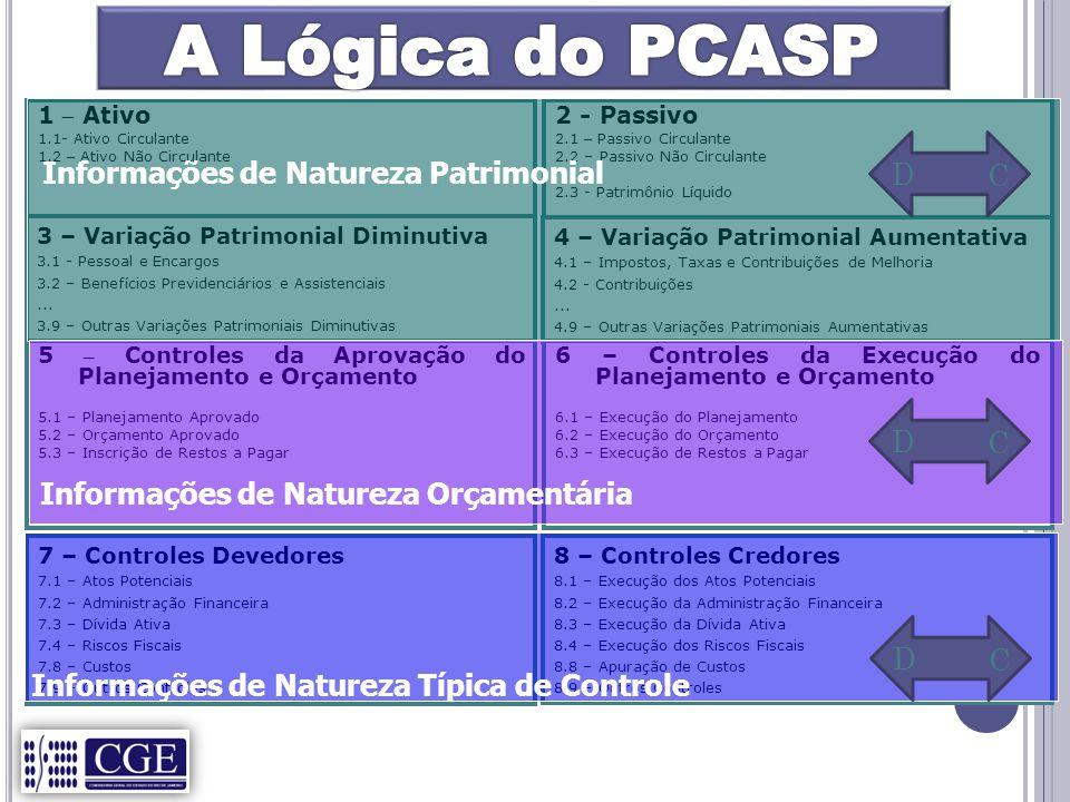 A Lógica do PCASP Informações de Natureza Patrimonial D C D C