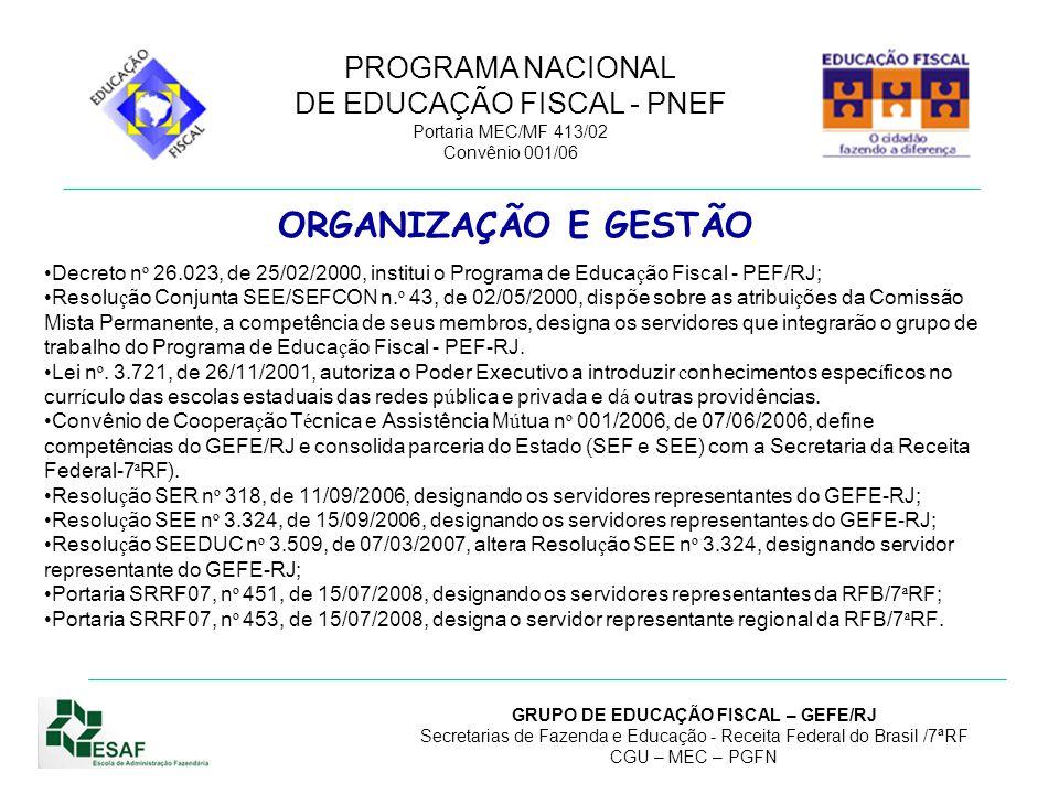 ORGANIZAÇÃO E GESTÃO Decreto nº 26.023, de 25/02/2000, institui o Programa de Educação Fiscal - PEF/RJ;