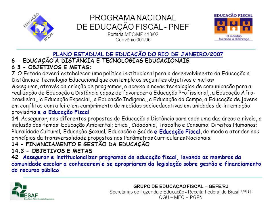 PLANO ESTADUAL DE EDUCAÇÃO DO RIO DE JANEIRO/2007