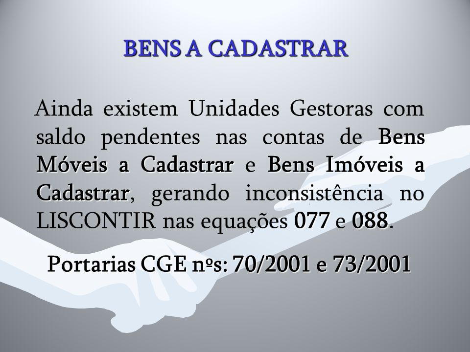 BENS A CADASTRAR