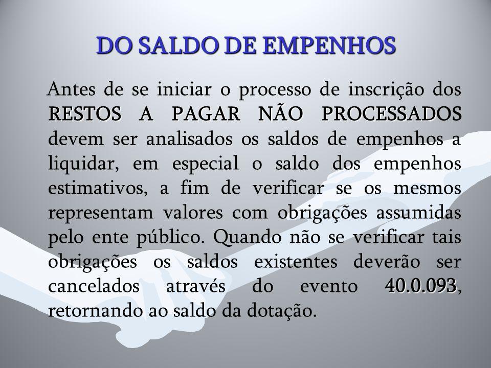 DO SALDO DE EMPENHOS