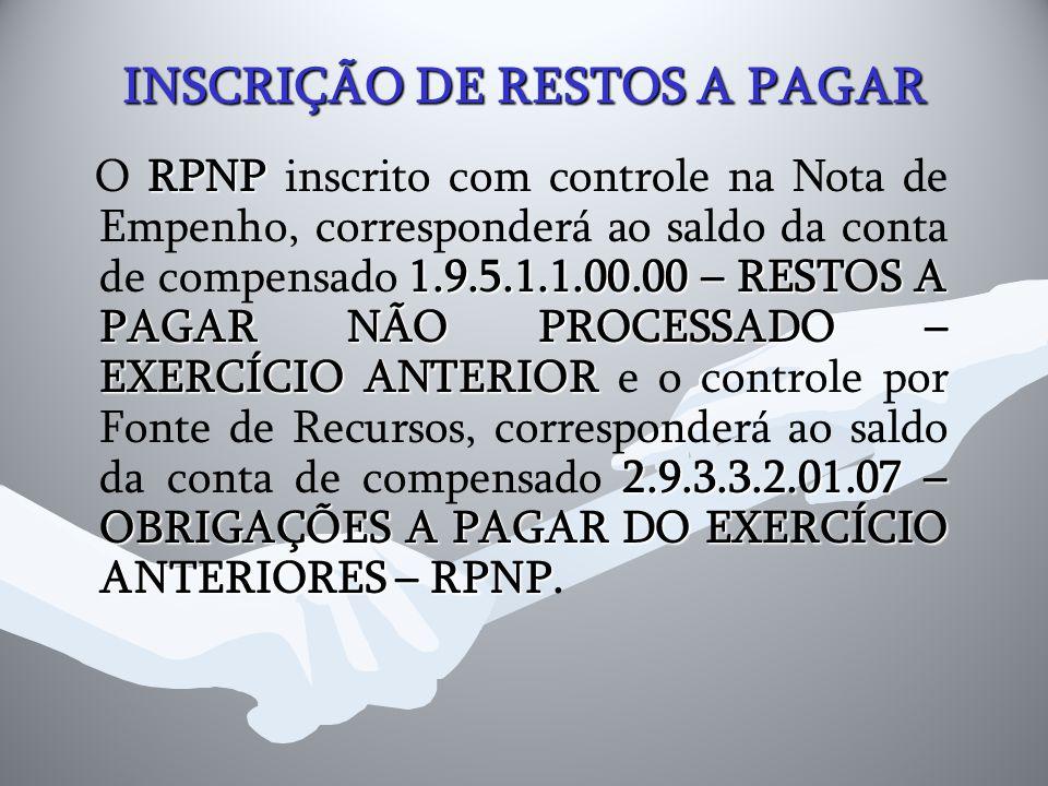 INSCRIÇÃO DE RESTOS A PAGAR