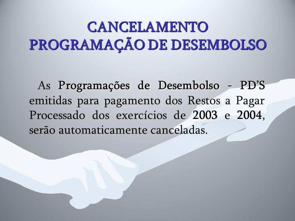 CANCELAMENTO PROGRAMAÇÃO DE DESEMBOLSO