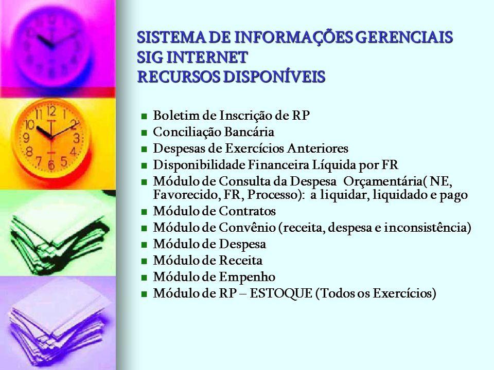 SISTEMA DE INFORMAÇÕES GERENCIAIS SIG INTERNET RECURSOS DISPONÍVEIS