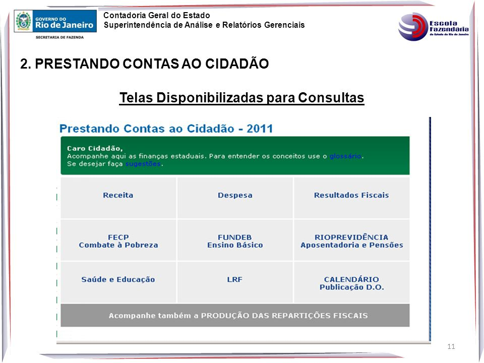 Telas Disponibilizadas para Consultas