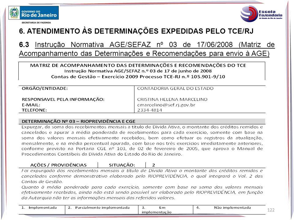 6. ATENDIMENTO ÀS DETERMINAÇÕES EXPEDIDAS PELO TCE/RJ