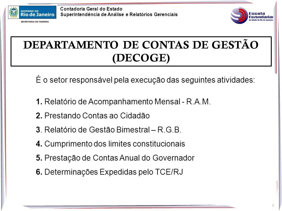DEPARTAMENTO DE CONTAS DE GESTÃO (DECOGE)