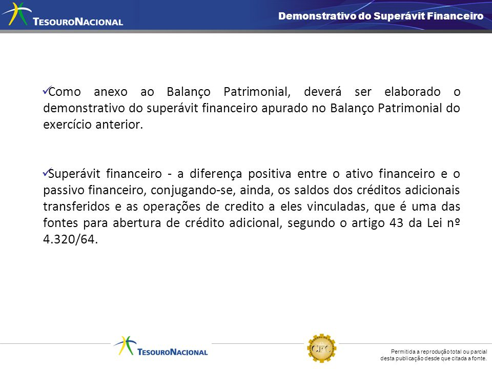 Demonstrativo do Superávit Financeiro