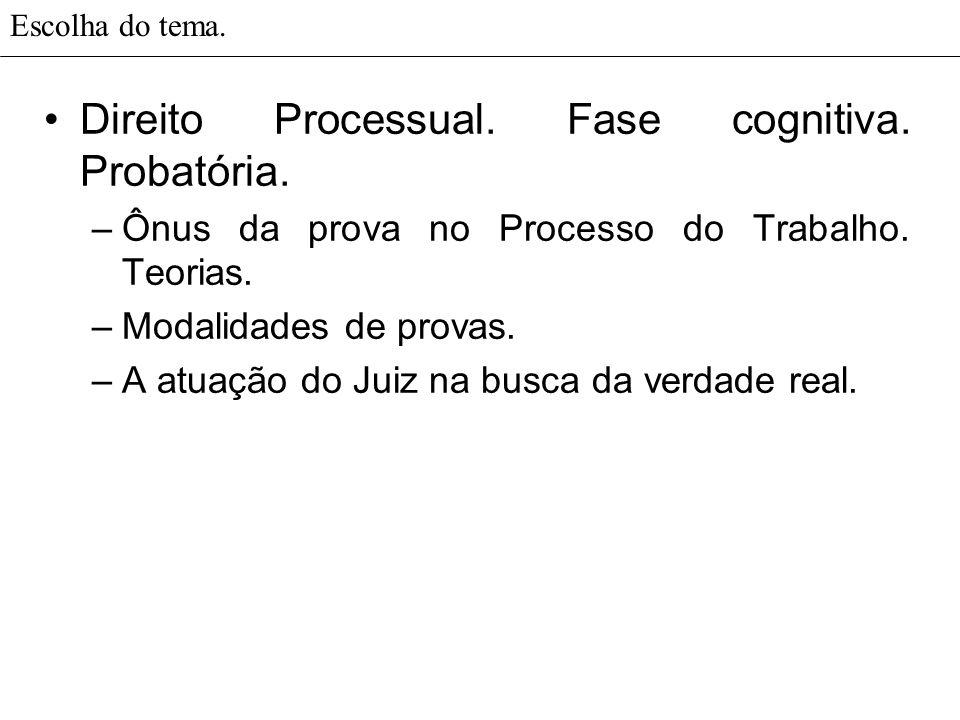 Direito Processual. Fase cognitiva. Probatória.