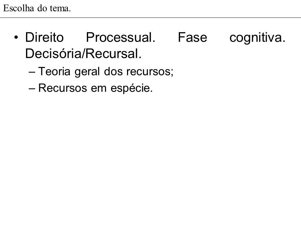 Direito Processual. Fase cognitiva. Decisória/Recursal.
