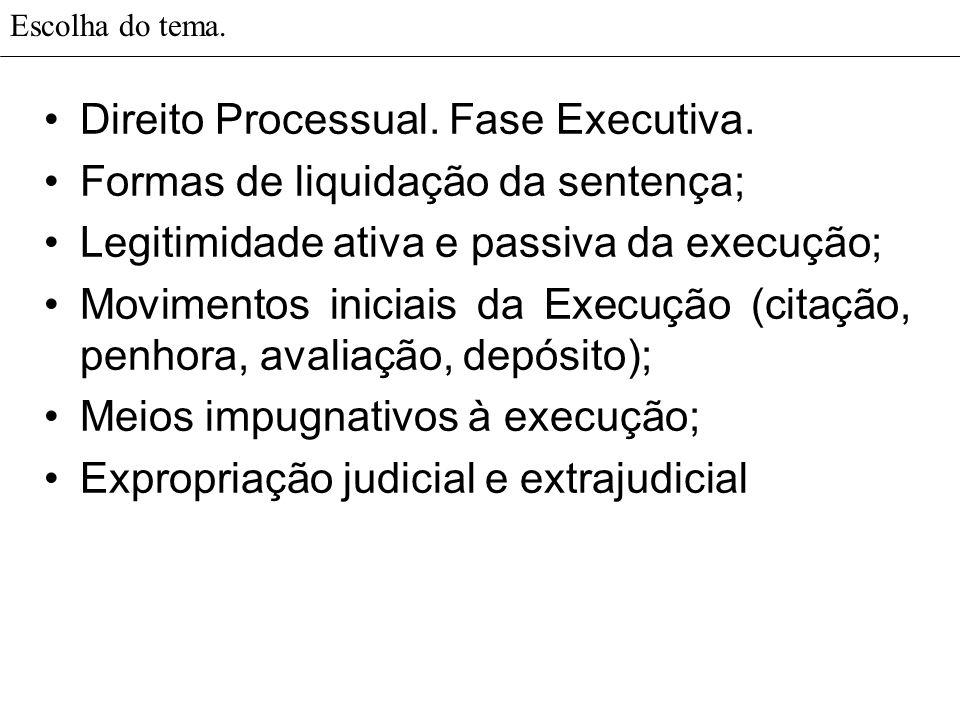 Direito Processual. Fase Executiva. Formas de liquidação da sentença;