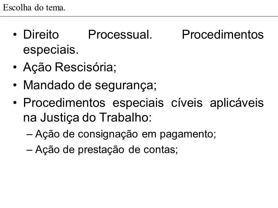 Direito Processual. Procedimentos especiais. Ação Rescisória;