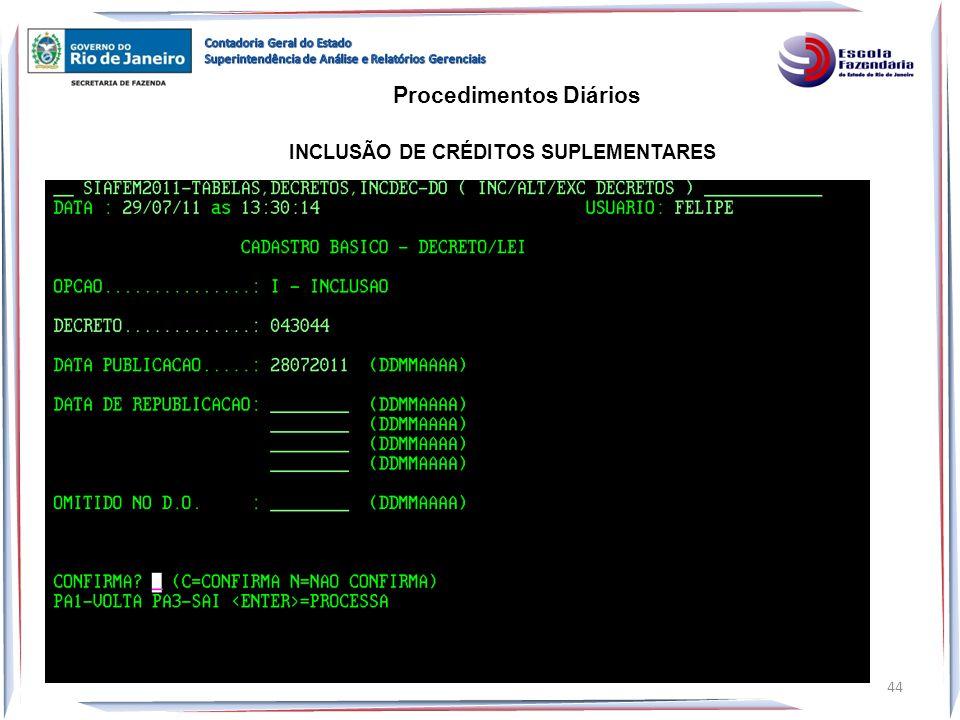 Procedimentos Diários INCLUSÃO DE CRÉDITOS SUPLEMENTARES