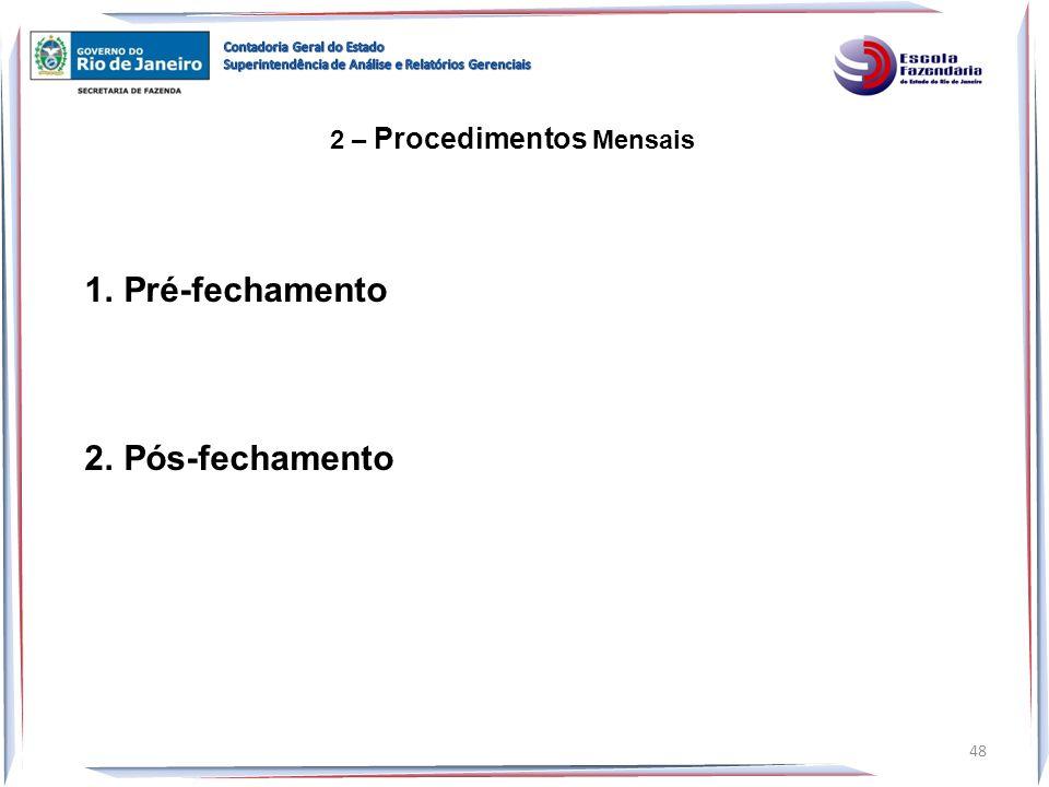 Pré-fechamento Pós-fechamento 2 – Procedimentos Mensais