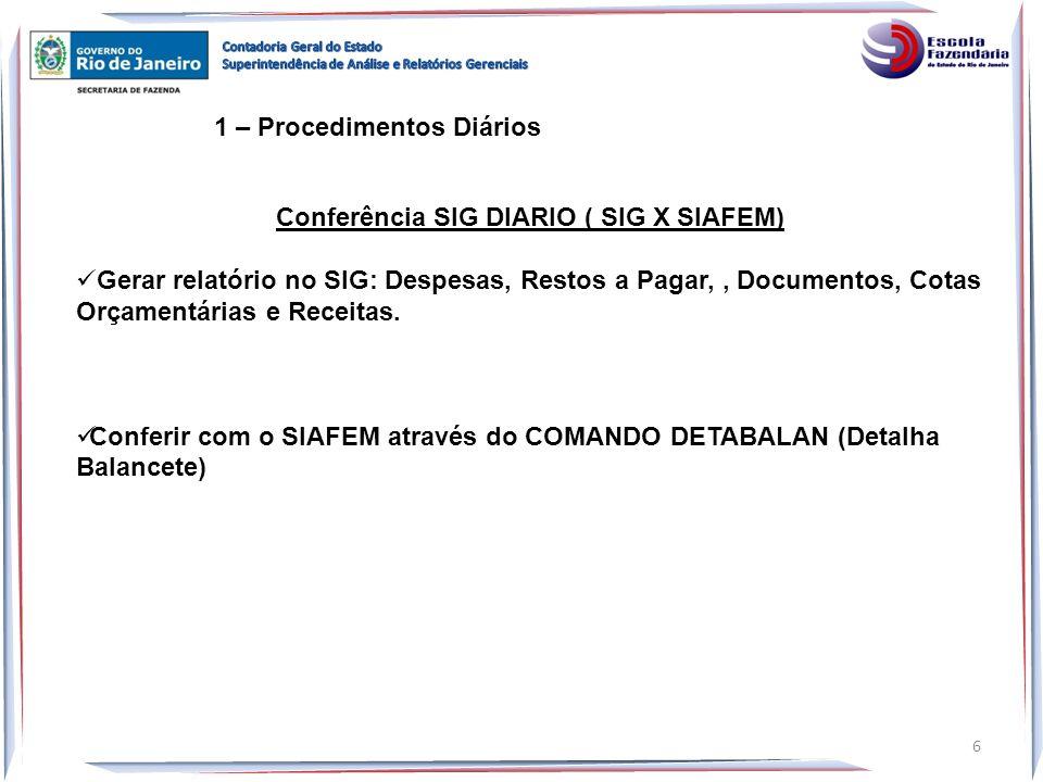 Conferência SIG DIARIO ( SIG X SIAFEM)