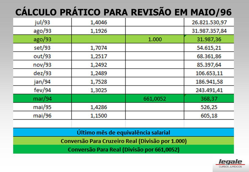 CÁLCULO PRÁTICO PARA REVISÃO EM MAIO/96