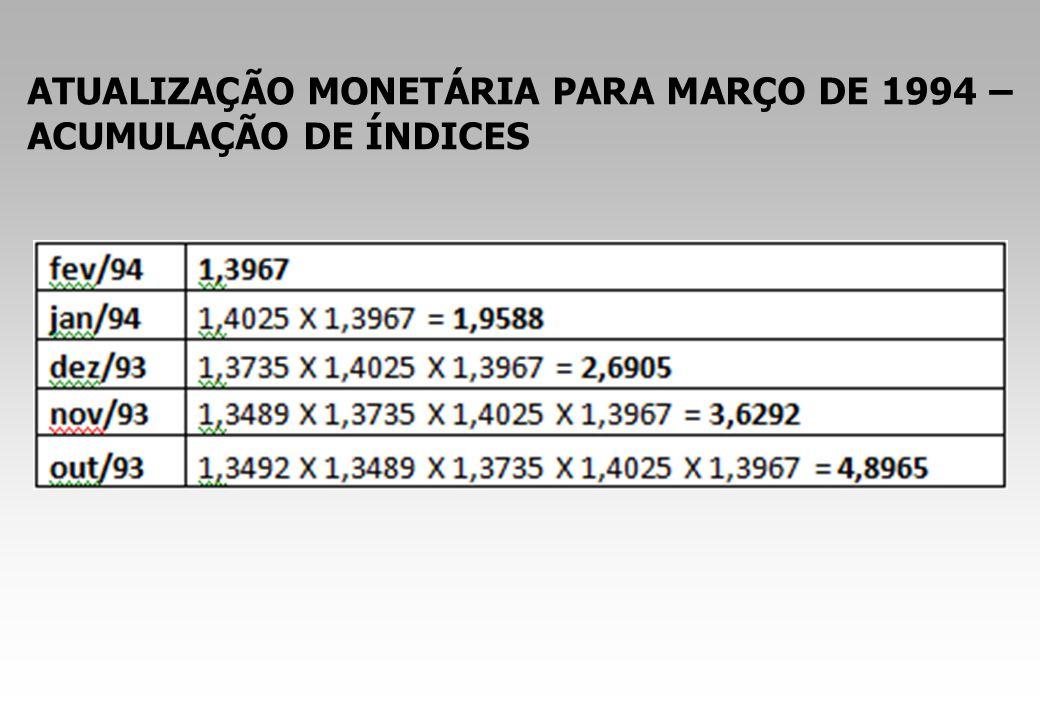 ATUALIZAÇÃO MONETÁRIA PARA MARÇO DE 1994 – ACUMULAÇÃO DE ÍNDICES