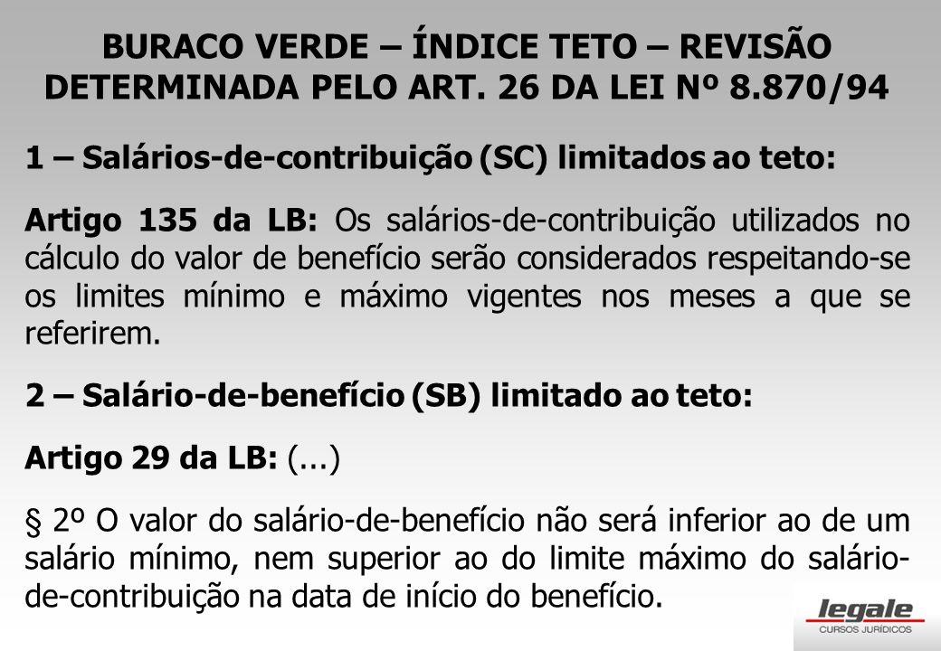 BURACO VERDE – ÍNDICE TETO – REVISÃO DETERMINADA PELO ART
