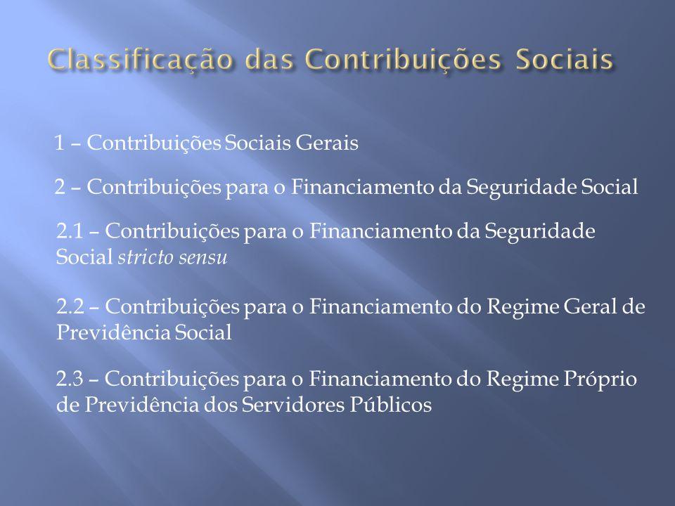 Classificação das Contribuições Sociais