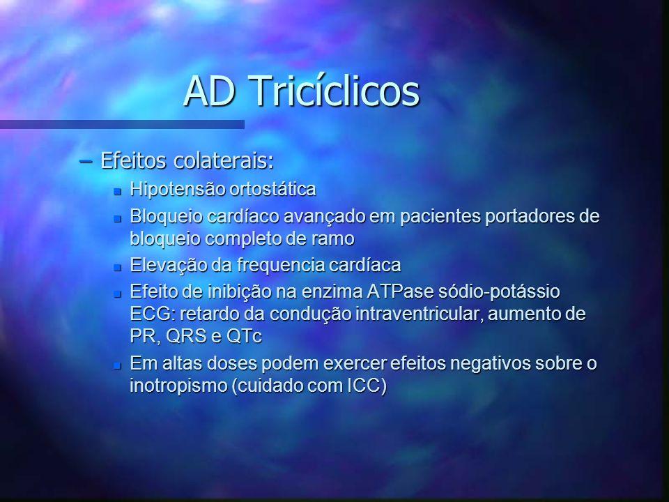 AD Tricíclicos Efeitos colaterais: Hipotensão ortostática