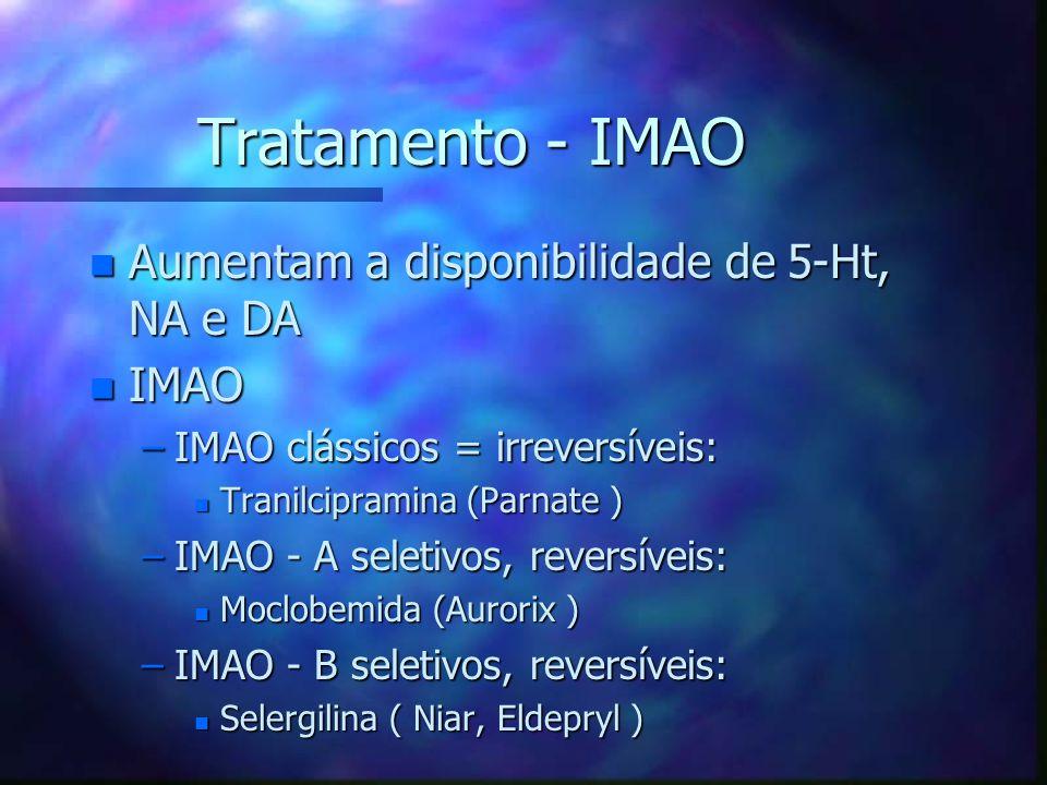 Tratamento - IMAO Aumentam a disponibilidade de 5-Ht, NA e DA IMAO