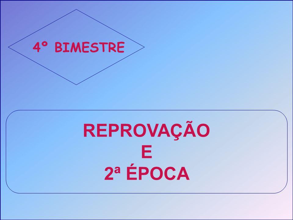 4º BIMESTRE REPROVAÇÃO E 2ª ÉPOCA