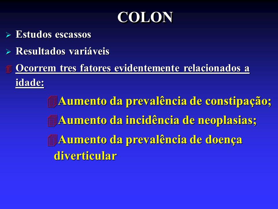 COLON Aumento da prevalência de constipação;