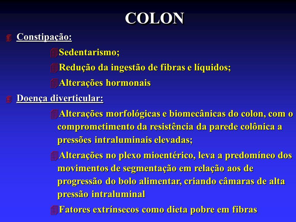 COLON Constipação: Sedentarismo;