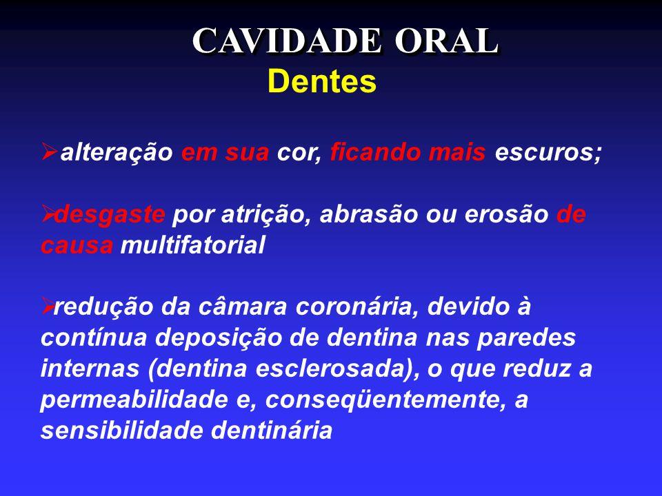 CAVIDADE ORAL Dentes alteração em sua cor, ficando mais escuros;