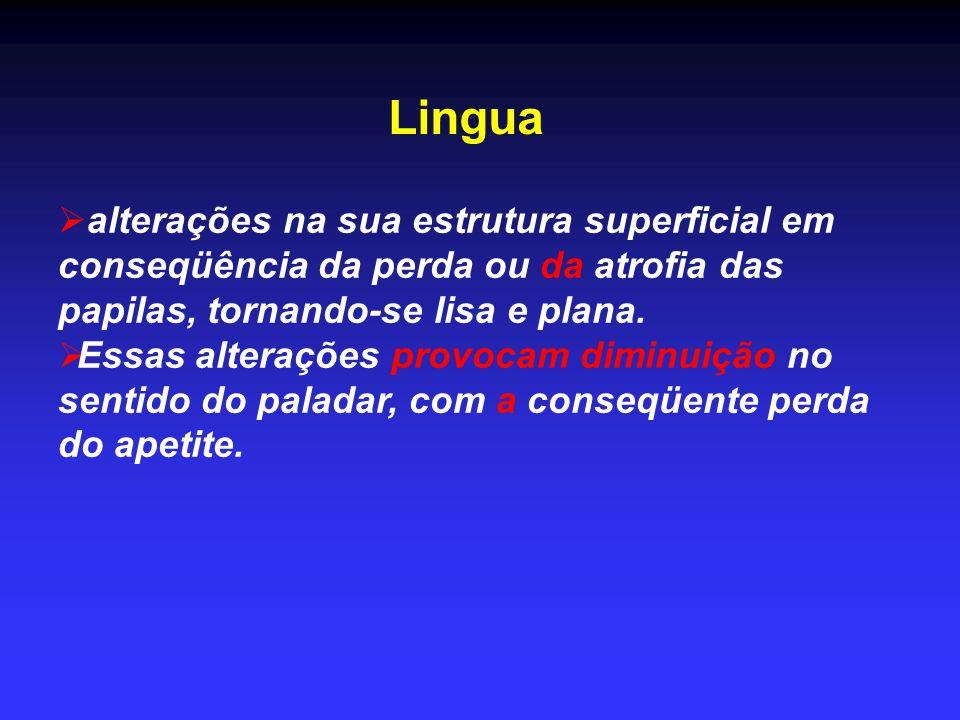 Lingua alterações na sua estrutura superficial em conseqüência da perda ou da atrofia das papilas, tornando-se lisa e plana.