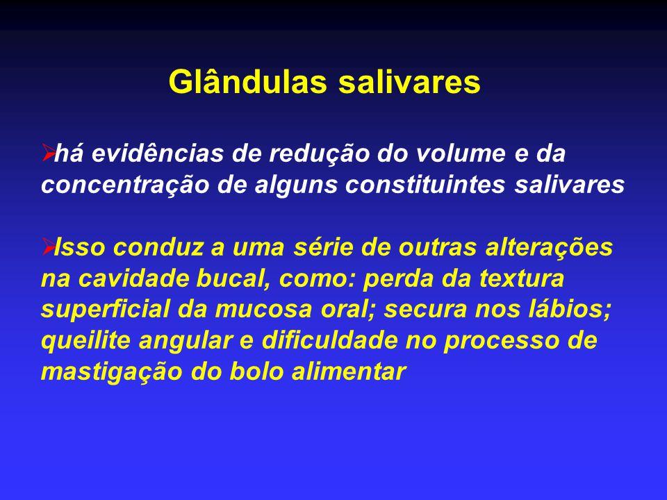 Glândulas salivares há evidências de redução do volume e da concentração de alguns constituintes salivares.