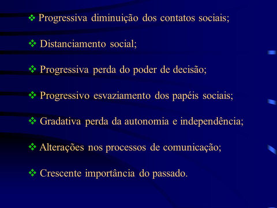 Distanciamento social; Progressiva perda do poder de decisão;