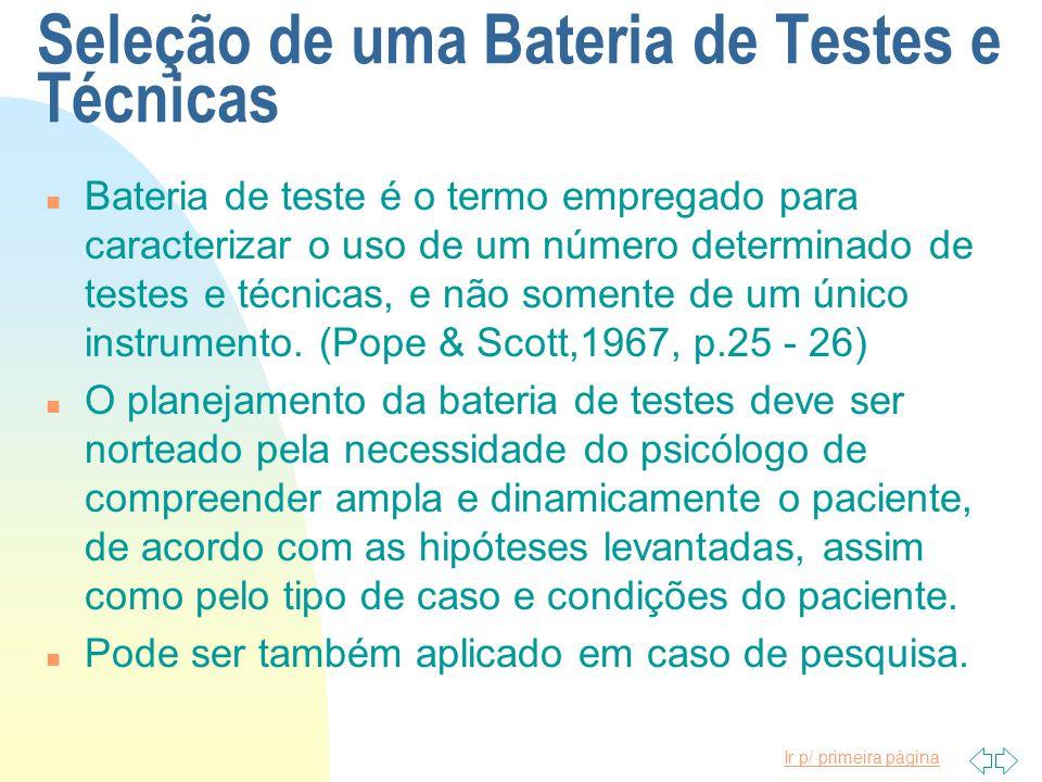 Seleção de uma Bateria de Testes e Técnicas