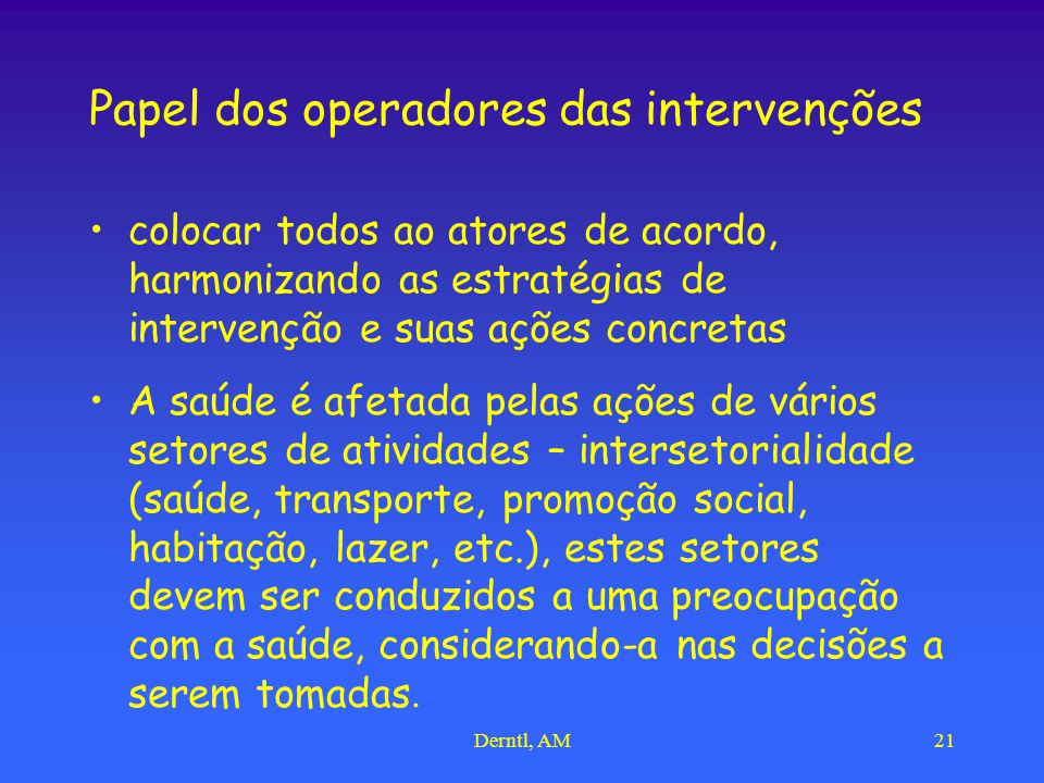 Papel dos operadores das intervenções