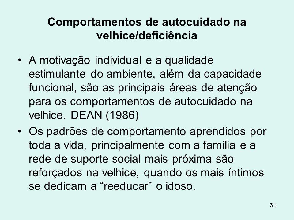 Comportamentos de autocuidado na velhice/deficiência