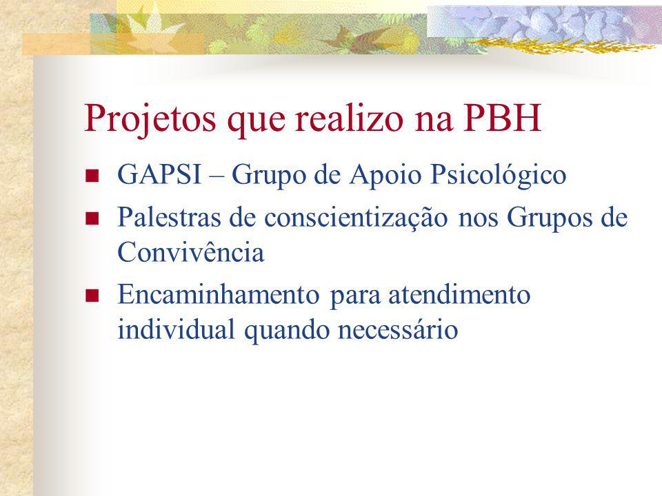 Projetos que realizo na PBH