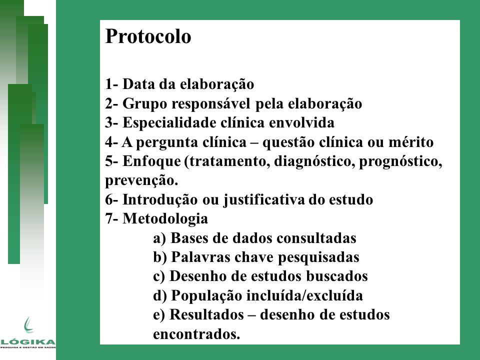 Protocolo 1- Data da elaboração 2- Grupo responsável pela elaboração