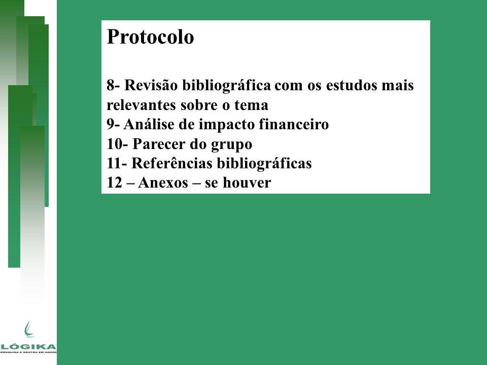 Protocolo 8- Revisão bibliográfica com os estudos mais relevantes sobre o tema. 9- Análise de impacto financeiro.