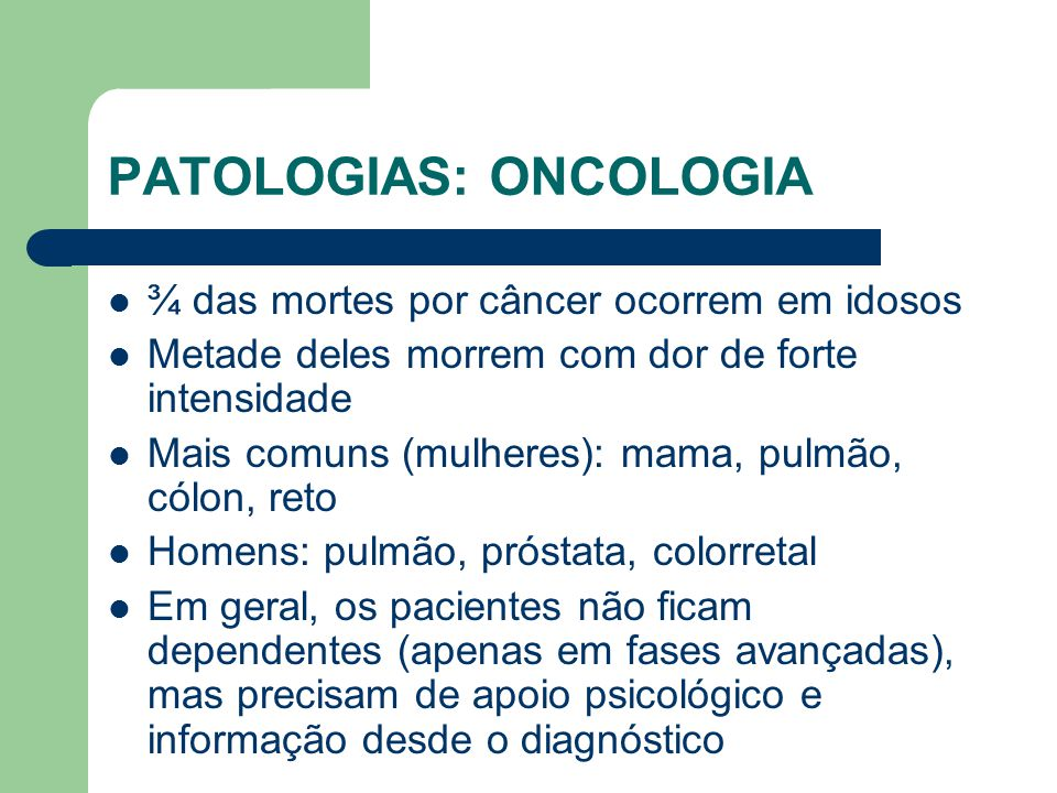 PATOLOGIAS: ONCOLOGIA
