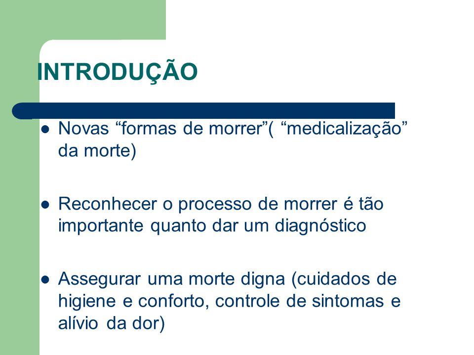 INTRODUÇÃO Novas formas de morrer ( medicalização da morte)